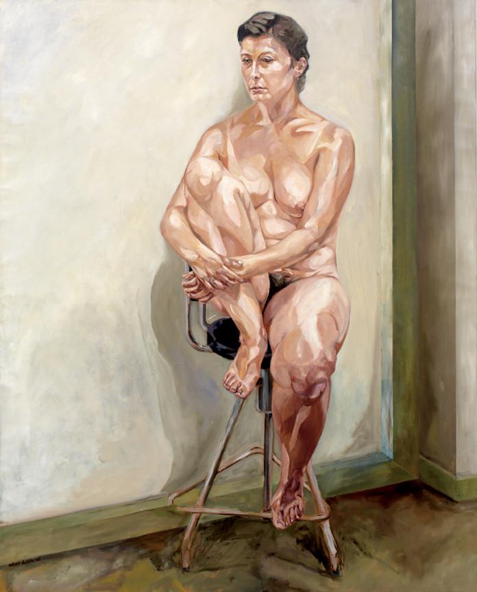 Estudio para desnudo con taburete Óleo sobre lienzo 162 x 130 cm (Colección privada)